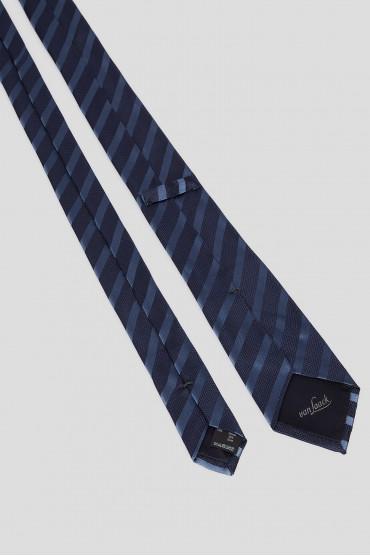Мужской темно-синий шелковый галстук в полоску 3