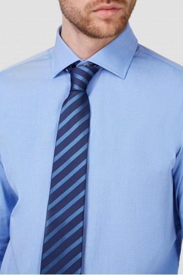Мужской темно-синий шелковый галстук в полоску 4