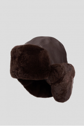 Мужская коричневая кожаная ушанка 1