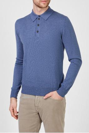 Мужское синее шерстяное поло 1