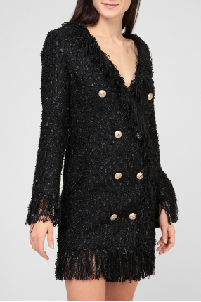 Женское черное твидовое платье 1