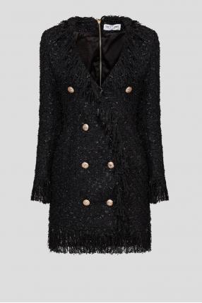 Женское черное твидовое платье