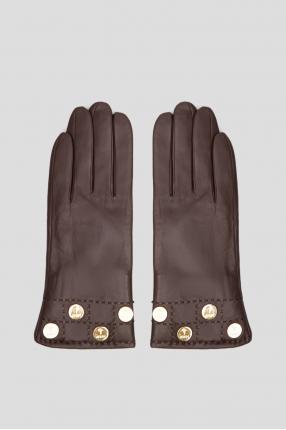 Мужские темно-коричневые кожаные перчатки