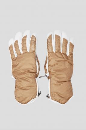 Женские бежевые лыжные перчатки