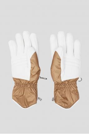 Женские бежевые лыжные перчатки 1