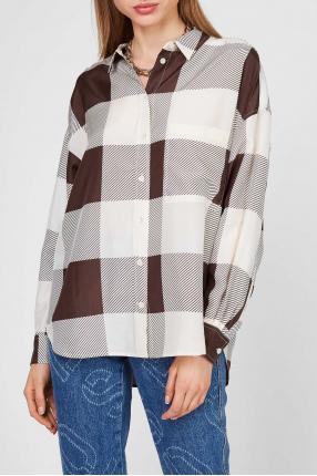 Женская шелковая блуза в клетку 1