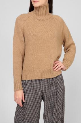 Жіночий коричневий вовняний светр 1