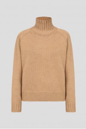 Жіночий коричневий вовняний светр