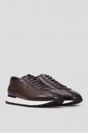 Мужские коричневые кожаные кроссовки 1