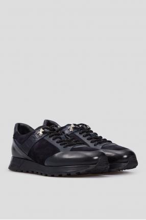 Мужские темно-синие кожаные кроссовки 1