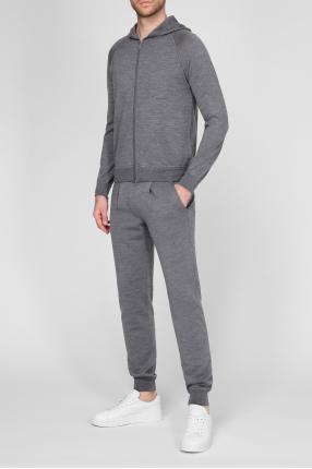 Мужской серый шерстяной спортивный костюм (худи, брюки) 1