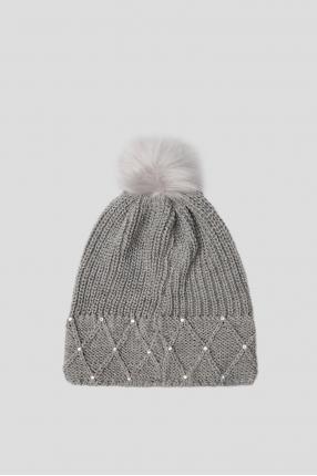 Женская серая шапка 1