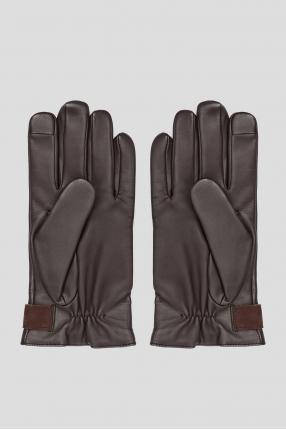 Мужские коричневые кожаные перчатки  1
