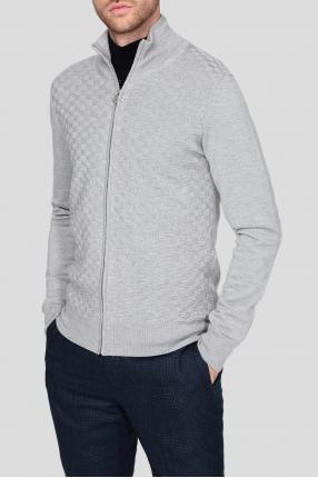 Чоловічий сірий вовняний кардиган Full-zip 1