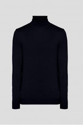 Мужской темно-синий шерстяной гольф