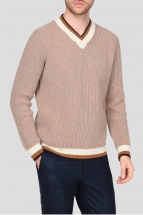 Мужской бежевый шерстяной пуловер 1