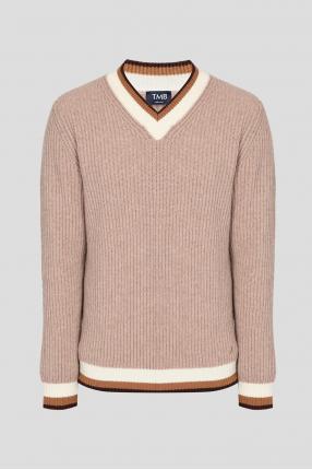Мужской бежевый шерстяной пуловер