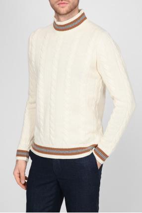 Мужской белый шерстяной свитер 1