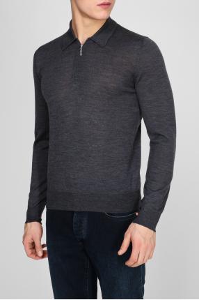 Мужское серое шерстяное поло Polo-zip 1