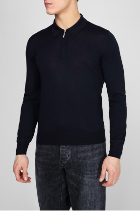 Мужское темно-синее шерстяное поло Polo-zip 1