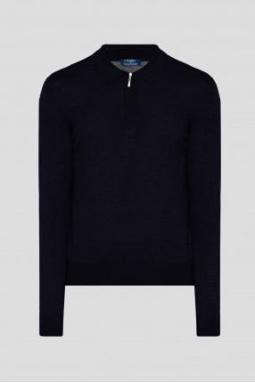 Мужское темно-синее шерстяное поло Polo-zip