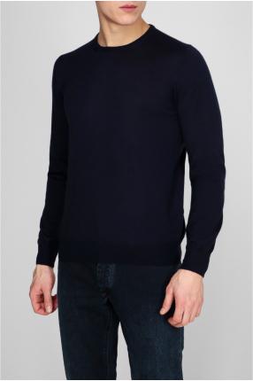 Мужской темно-синий кашемировый джемпер 1
