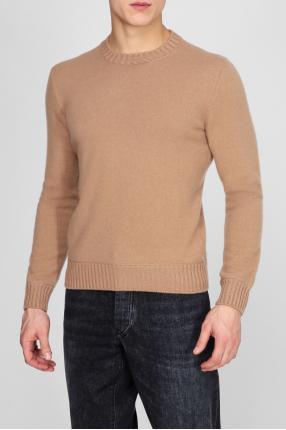Мужской бежевый кашемировый свитер 1