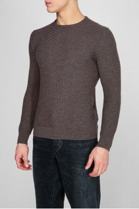 Мужской серый шерстяной свитер 1