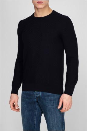 Мужской темно-синий шерстяной свитер 1