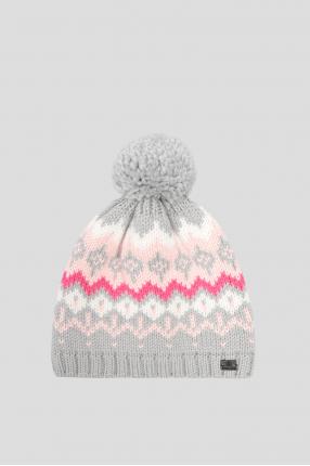 Женская серая шерстяная шапка