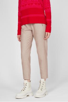Женские бежевые шерстяные брюки 1