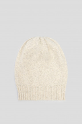 Женская белая шерстяная шапка