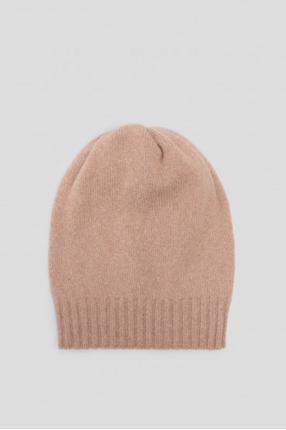 Женская бежевая шерстяная шапка