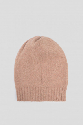 Женская бежевая шерстяная шапка 1