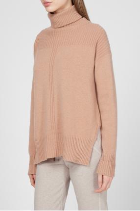 Жіночий бежевий кашеміровий светр 1
