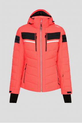 Женская коралловая лыжная куртка