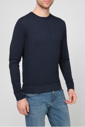 Мужской темно-синий шерстяной джемпер 1