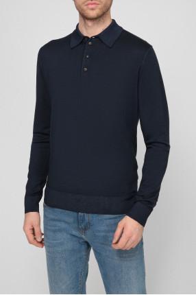 Мужское темно-синее шерстяное поло 1