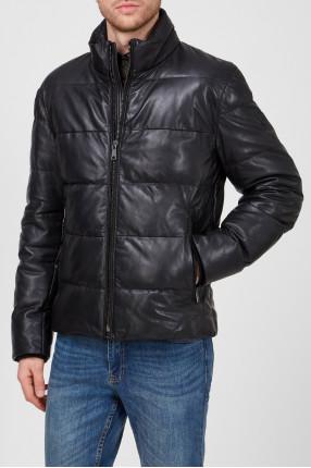 Мужская черная кожаная куртка 1