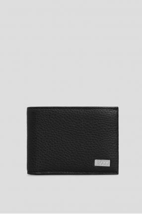 Чоловічий чорний шкіряний гаманець