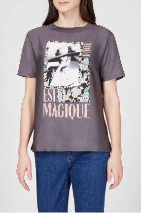 Женская темно-серая футболка 1