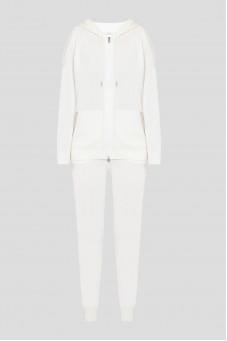Женский белый спортивный костюм (худи, брюки)