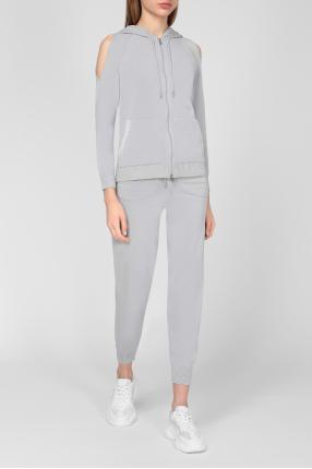 Жіночий сірий спортивний костюм (худі, штани) 1