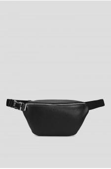 Мужская черная кожаная поясная сумка