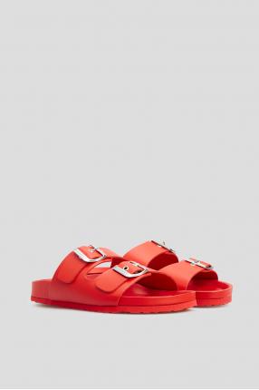 Женские красные кожаные слайдеры 1