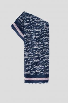 Женский темно-синий платок с узором