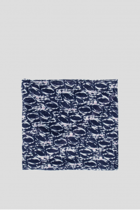 Женский темно-синий платок с узором 1