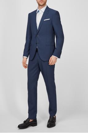 Чоловічий синій вовняний костюм (піджак, брюки) 1