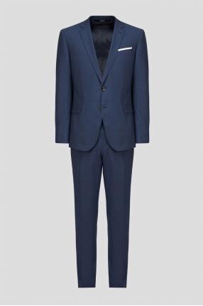 Чоловічий синій вовняний костюм (піджак, брюки)