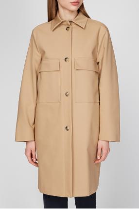 Женское бежевое пальто 1